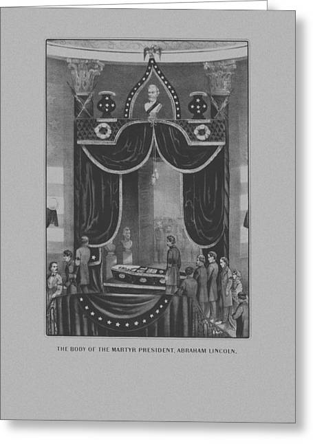 President Abraham Lincoln Lying In State Greeting Card by War Is Hell Store
