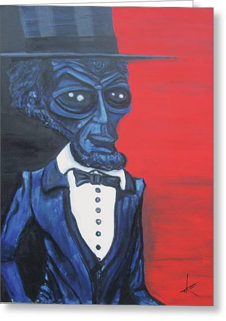 President Alienham Lincoln Greeting Card by Similar Alien