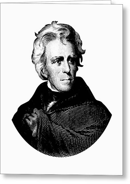 President Andrew Jackson Graphic Black And White Greeting Card by War Is Hell Store