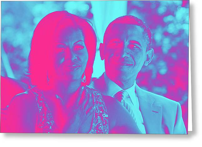 President Barack Obama And The First Lady Michelle Obama Greeting Card by Asar Studios