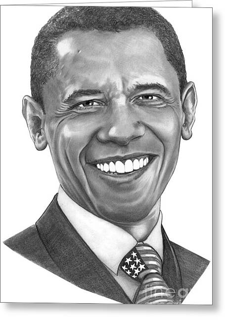 President Barack Obama By Murphy Art. Elliott Greeting Card by Murphy Elliott