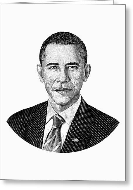 President Barack Obama Graphic Black And White Greeting Card by War Is Hell Store