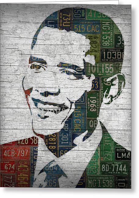 President Barack Obama Portrait United States License Plates Edition Two Greeting Card by Design Turnpike