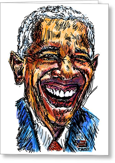 President Barack Obama Greeting Card by Robert Yaeger