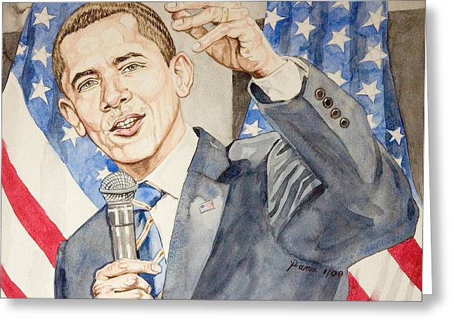 President Barack Obama Speaking Greeting Card by Andrew Bowers