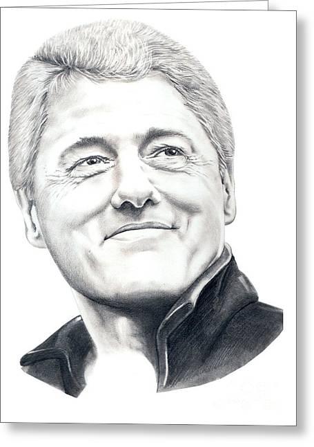 President Bill Clinton Greeting Card by Murphy Elliott