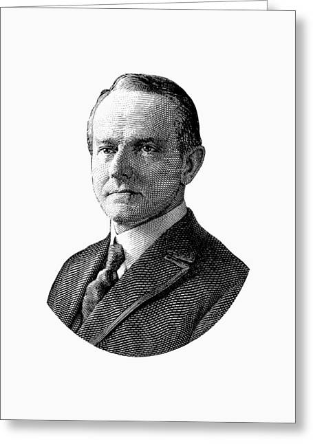 President Calvin Coolidge Graphic - Black And White Greeting Card