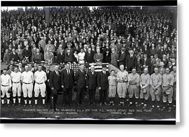 President Coolidge And The Washington A.l. And New York N.l. World's Series Baseball Teams Greeting Card by Panoramic Images