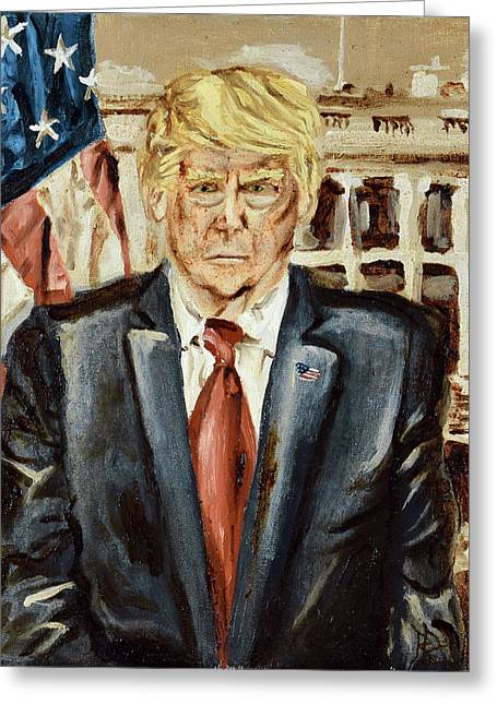 Greeting Card featuring the painting President Donald Trump by Ryan Demaree