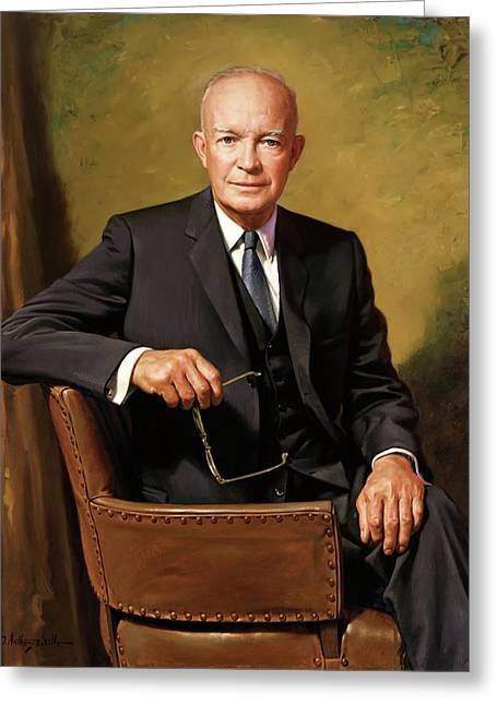 President Dwight D Eisenhower Greeting Card by James Anthony Wills