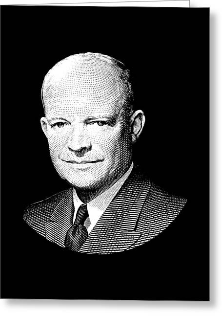 President Dwight Eisenhower Graphic - Black And White Greeting Card