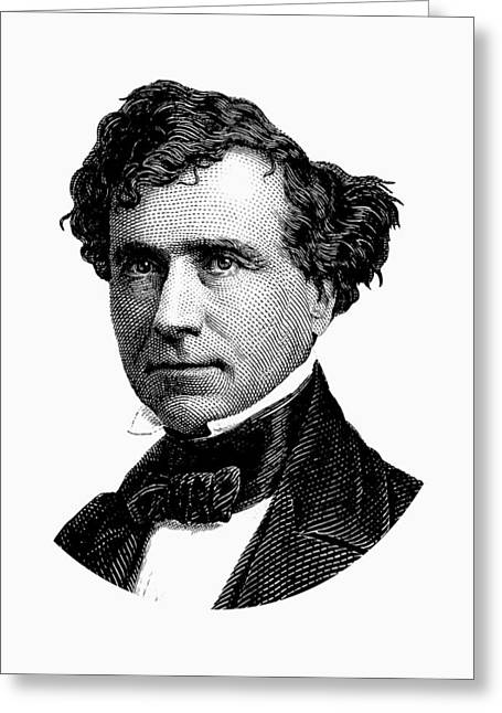 President Franklin Pierce Graphic - Black And White Greeting Card