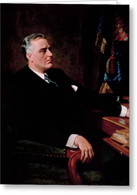 President Franklin Roosevelt Greeting Card by Frank O Salisbury