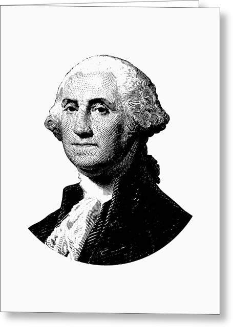 President George Washington Graphic - Black And White Greeting Card by War Is Hell Store