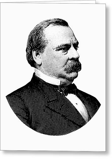 President Grover Cleveland - Black And White Greeting Card by War Is Hell Store