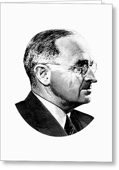 President Harry Truman Profile Portrait - Black And White Greeting Card by War Is Hell Store