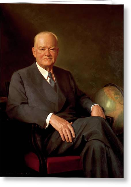 President Herbert Hoover Greeting Card by Elmer Wesley