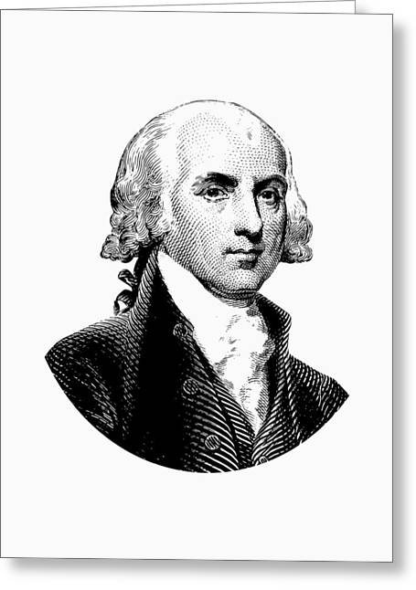 President James Madison Graphic Black And White Greeting Card by War Is Hell Store