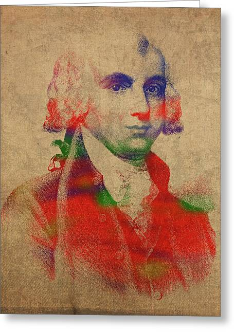 President James Madison Watercolor Portrait Greeting Card by Design Turnpike
