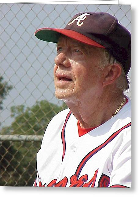 President Jimmy Carter - Atlanta Braves Jersey And Cap Greeting Card