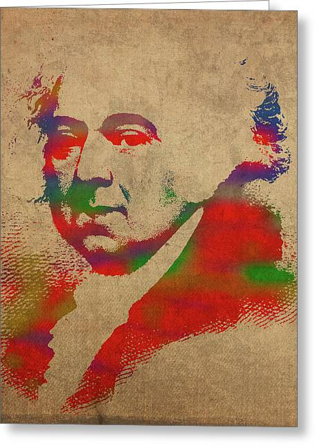 President John Adams Watercolor Portrait Greeting Card