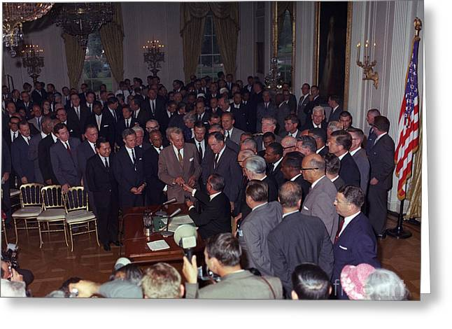 President Johnson Signs Civil Rights Greeting Card by Science Source