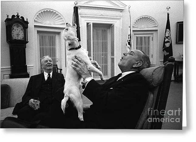 President Johnson Sings With Yuki, 1968 Greeting Card by Science Source