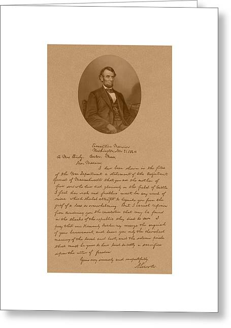 Rails Greeting Cards - President Lincolns Letter To Mrs. Bixby Greeting Card by War Is Hell Store
