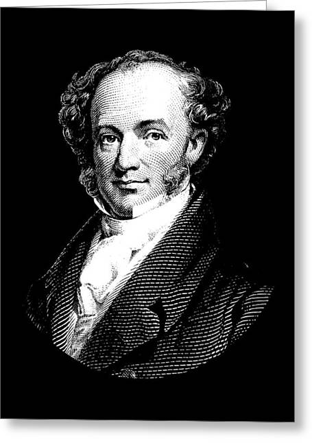President Martin Van Buren Graphic - Black And White Greeting Card by War Is Hell Store