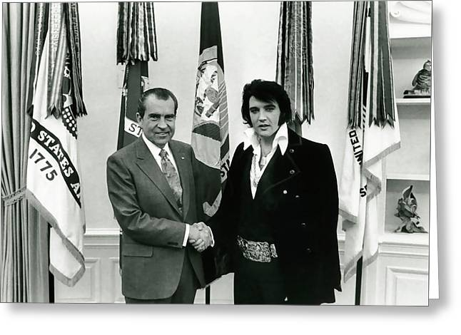 President Nixon And Elvis Presley In Oval Office Greeting Card