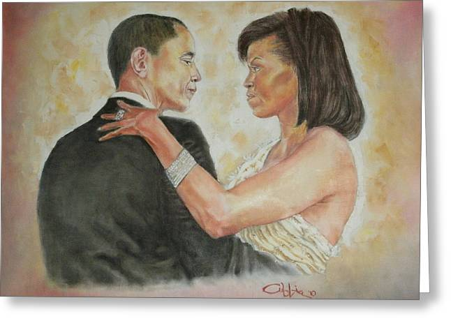 First Lady And President Greeting Cards - President Obama and First Lady Greeting Card by G Cuffia