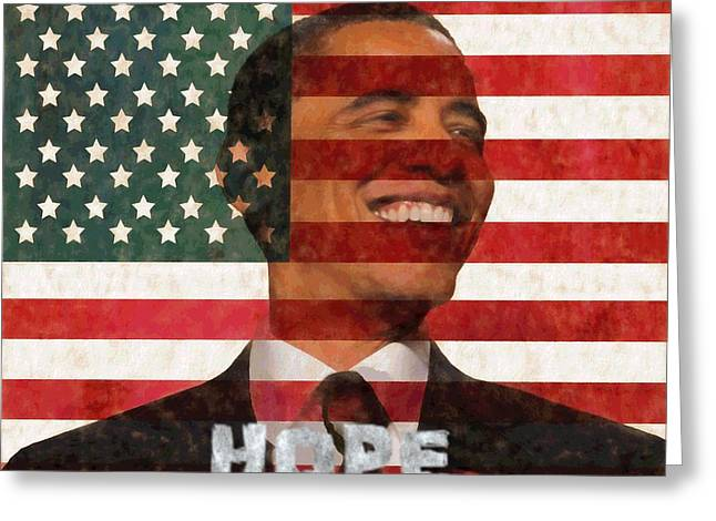 President Obama Hope Greeting Card by Dan Sproul
