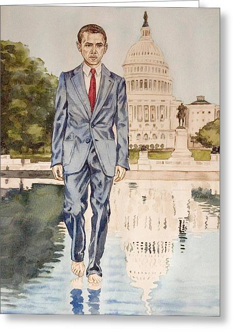 President Obama Walking On Water Greeting Card by Andrew Bowers