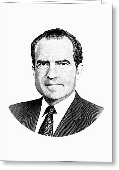 President Richard Nixon Graphic Black And White Greeting Card by War Is Hell Store