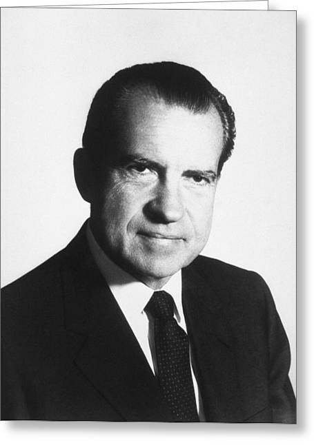 President Richard Nixon Portrait  Greeting Card by War Is Hell Store