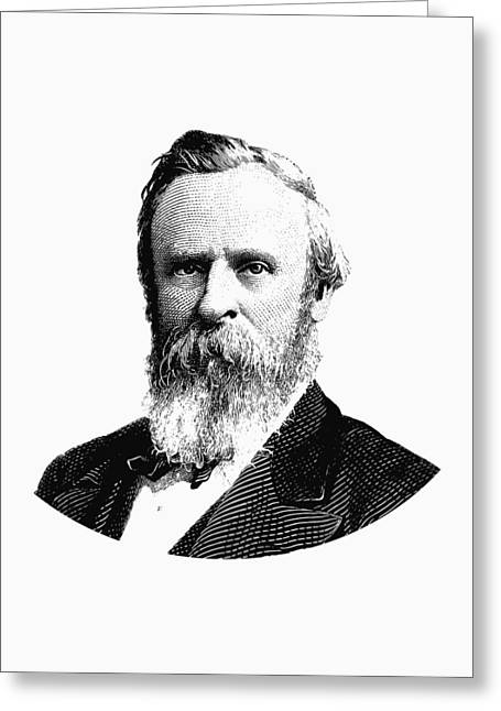 President Rutherford B. Hayes Graphic Black And White Greeting Card by War Is Hell Store