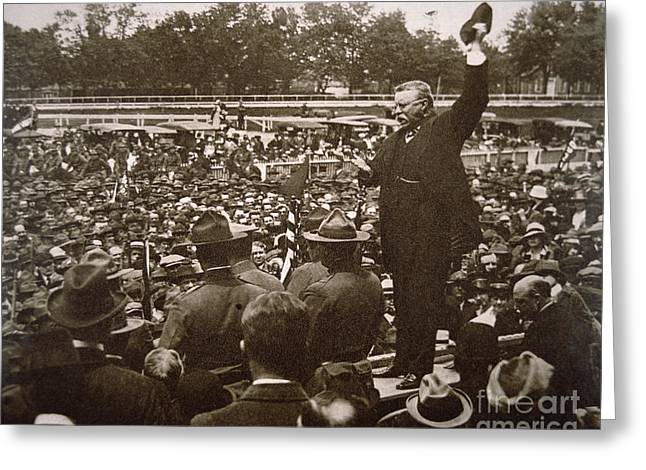 President Theodore Roosevelt Speaking At A Recruiting Rally In June 1917 Greeting Card