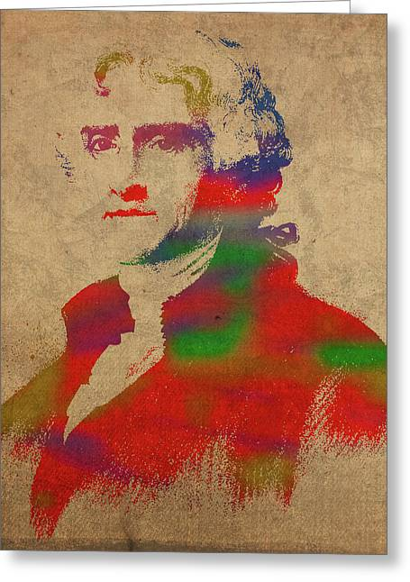 President Thomas Jefferson Watercolor Portrait Greeting Card by Design Turnpike