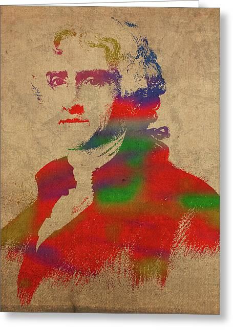 President Thomas Jefferson Watercolor Portrait Greeting Card