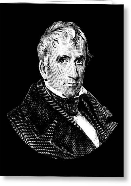 President William Henry Harrison Graphic - Black And White Greeting Card by War Is Hell Store