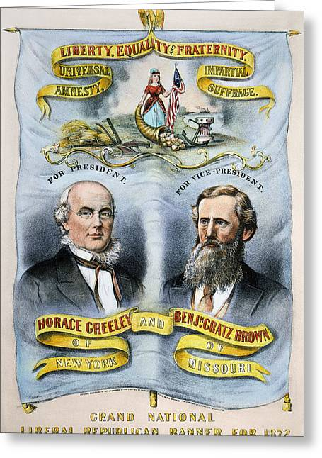 Greeley Greeting Cards - Presidential Campaign, 1872 Greeting Card by Granger