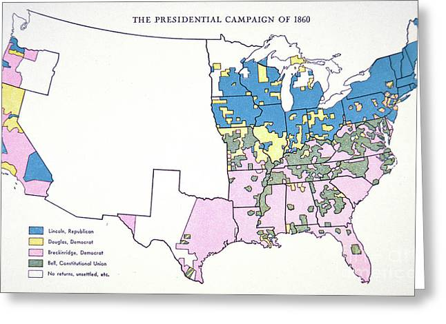 Presidential Election Campaign Map, 1860  Greeting Card