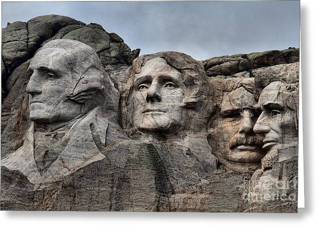 Presidents Of Mt. Rushmore Greeting Card by Adam Jewell