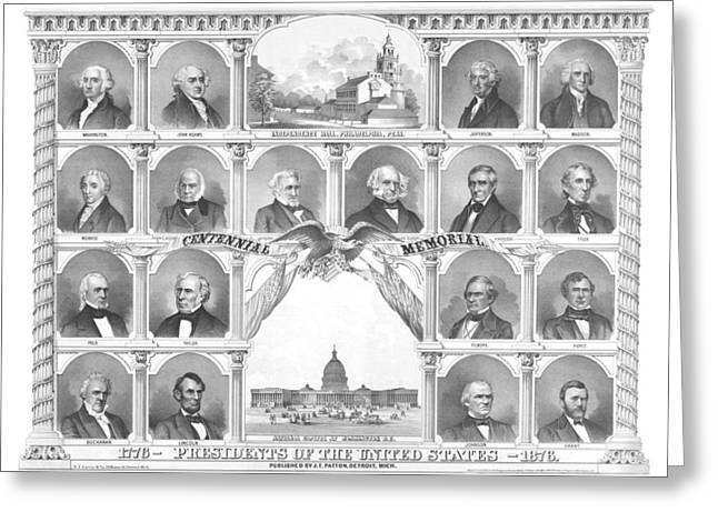 Presidents Of The United States 1776-1876 Greeting Card