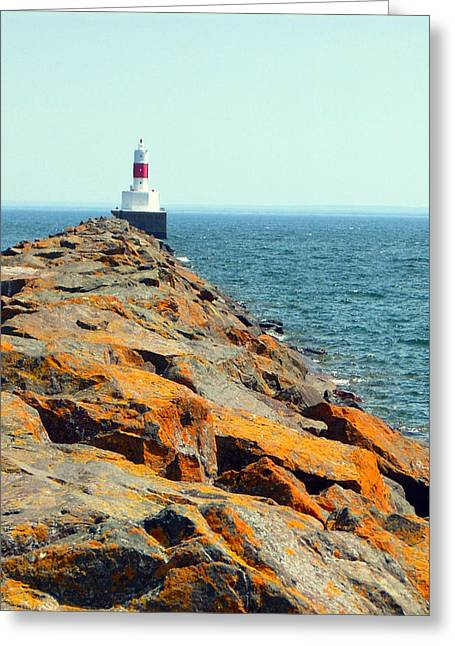 Greeting Card featuring the photograph Presque Isle Lighthouse In Marquette Mi by Mark J Seefeldt