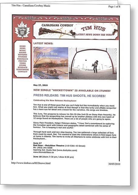 Press Release Carole Spandau Paints Cover Art For Hockeytown Cd By Tim Hus Greeting Card by Carole Spandau