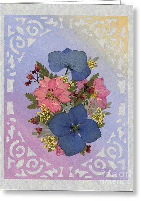 Pressed Flowers Arrangement With Pink Larkspur And Hydrangea Greeting Card