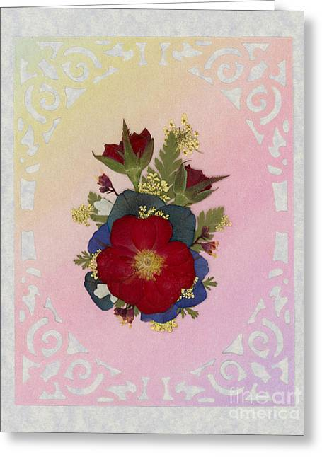 Pressed Flowers Arrangement With Red Roses Greeting Card