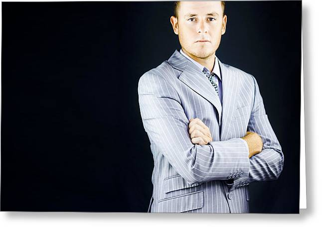 Prestigious Influential Young Business Man Greeting Card by Jorgo Photography - Wall Art Gallery