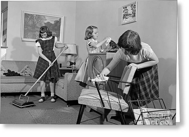 Preteen Girls Cleaning Living Room Greeting Card by H. Armstrong Roberts/ClassicStock